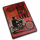 """Harley - Davidson """"Live To Ride - Ride To Live"""" Retro Metal Sign (04659)"""