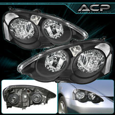 Black Housing Clear Lens Reflector Headlights Lamps For 02 03 04 Acura RSX DC5