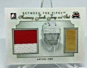 2011-12 ITG IN THE GAME BETWEEN THE PIPES 10 ANNIVERSARY ARTIS IRBE JERSEY STICK