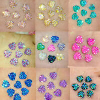 25Pcs Charm Glitter Heart Shape Resin Flat Back Beads Craft DIY Decor 12mm Gift