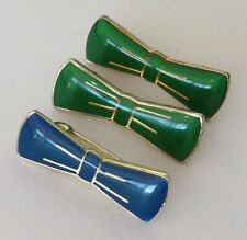 Green & Blue Bow Tie Lot Pin Badge Rare Vintage (E6)