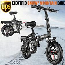"14"" Fat Tire Electric Snow Mountain Bicycle Folding E-Bike 250W Urban Commuter"