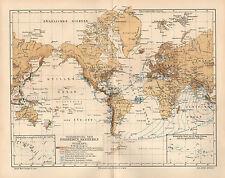 Erdbeben Seebeben Seismologie Vulkane Geologie Natur Katastrophe  Karte von 1894