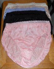 Six (6) Hi Cut Panties, Silky Nylon , Feminine Lace, Hanes Sz 8 (XLarge)
