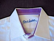 Robert Graham Sport Shirt Size XL White Embossed Paisley Print Purple Collar