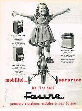 PUBLICITE ADVERTISING  1962   FAURE    radiateur mobile à gaz