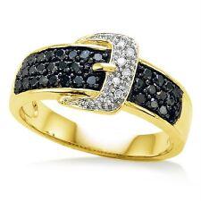 Black & White Diamond Belt Buckle Ring 10K Yellow Gold Diamond Band .50ct