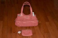 NWT Coach $498 19258 Perforated Leather Lexi Handbag & $78 Wristlet F47330 Coral