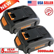 2 Packs Battery For Worx Wa3525 20V 3.0Ah Max Lithium Power Tools Trimmer Blower