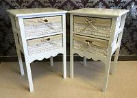Set 2 White Bedside Tables Wicker Storage Baskets Bedroom Cabinet Nightstand 13