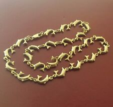 "Vintage Ocean lover's 14k Gold Dolphin motif Links Chain Necklace 16 "" Long"
