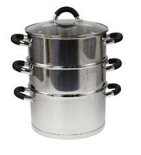 24 cm en Acier Inoxydable Cuiseur vapeur avec couvercle en verre multi FOOD COOK...