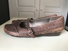 Hush Puppies Leather Designer Flat Court Brown Pump Trainer Shoe Size 5.5