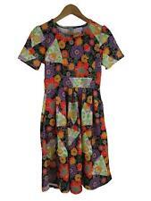 LuLaRoe Women's Floral Amelia Dress Small Pleated Zip Flowers Fit & Flare A-Line