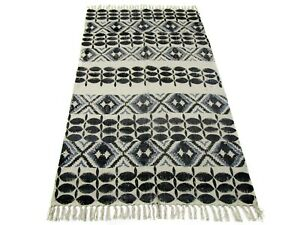 Cotton Area Rug Handmade Floor Carpet 2x6 Ft Small Size Dari Black Color Doormat