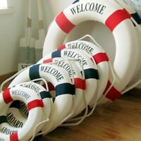 Welcome Aboard Nautical Life Lifebuoy Ring Boat Wall Hanging Mediterranean New
