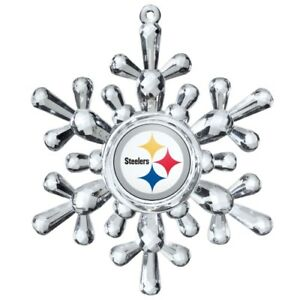 Pittsburgh Steelers Football NFL Traditional Snowflake Christmas Tree Ornament