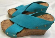 Montego Bay Club Cork Platform Slip On Elastic Wedge Sandals Size 6 Teal Blue