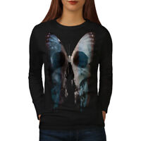 Wellcoda Butterfly Skull Face Womens Long Sleeve T-shirt, Bone Casual Design