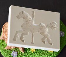 3D Silicone Carousel Horse Mold Fondant Cake Mold Cupcake Mold Baking Tools New