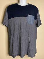 Original Penguin By Munsingwear Men Size XL Navy Striped T Shirt Chest Pocket