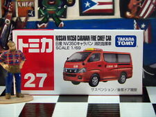 TOMICA #27 NISSAN NV350 CARAVAN FIRE CHIEF CAR 1/69 SCALE NEW IN BOX