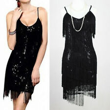 FLAPPER FRINGE 1920s BLACK GREAT GATSBY SEQUIN PARTY LATIN DRESS S