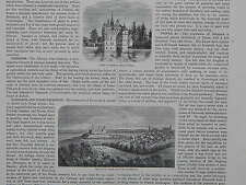 19th Century Engraving #09 Denmark, Egiskow/ Kronborg Castle, Town of Elsinore