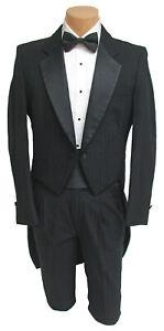 Men's Black Raffinati Tuxedo Tailcoat with Pants Wedding Prom Mason 37R 31W