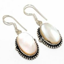 "Mother Of Pearl Gemstone Handmade Ethnic Fashion Jewelry Earring 1.9"" SE7772"