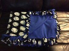 "Blue Hand tied No Sew Volleyball Sport Fleece Blanket 69""x52"" 2 layerd"