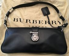 Beautiful Burberry Stirrup Clasp Black Leather Shoulder Bag W/Dust Cover