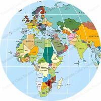 Effet de fond A4 givrage Cake Topper feuille world map globe Asie uniquement