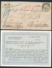 Dt. Reich 18 Kr. kleiner Schild Wertbrief Schliengen 1874 Befund (S12581)