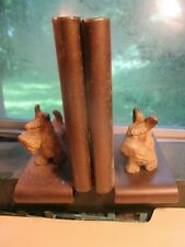 Vintage Pair of Sealyham Terrier Painted White Metal Bookends