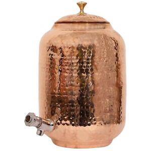 100% Pure Copper Water Dispenser (Matka) Hammered Finish Container Pot 8 Litre