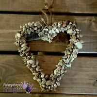 Gisela Graham Hanging Rustic Natural Mini Shell Heart Wreath Bathroom Decoration