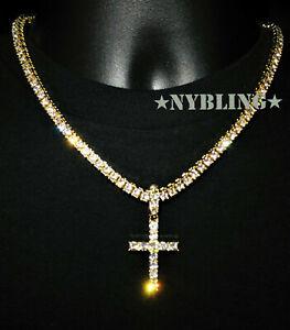 14k Gold IP Tennis Chain Cross Pendant Choker Lab Diamond ICED Necklace Jewelry