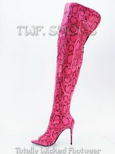 """CR Toxic Hot Pink Open Pointy Toe OTK Wide Top Thigh Boot 4.5"""" High Heel 6-11"""