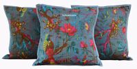 "SET OF 3 INDIAN HANDMADE KANTHA WORK COTTON CUSHION COVER ETHNIC ART 16X16"" NEW"
