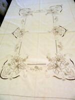 """Vintage Linen Tablecloth Madeira Lace Embroidered Cutwork Ecru w/ Taupe 68""""x82"""""""