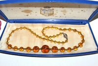 ANTIQUE ART DECO MOLDED AMBER CZECH GLASS HAND KNOTTED STUNNING NECKLACE NG2