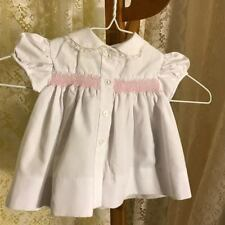 Vintage Retro White W/Pink Smocking Lace Trimmed Dress Size 6-9 Mo. Euc