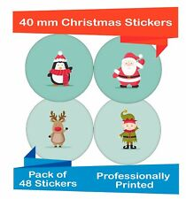 48-Pack 40 mm Misti Christmas Decor Adesivi, Natale Regali/Carta Etichette ch06