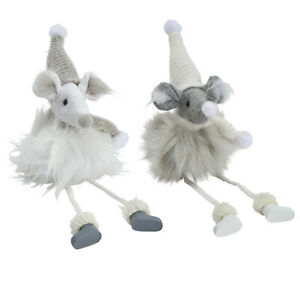Set of 2 festive mice with dangly legs