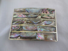 Belt Buckle Beautiful Colors Vintage Mexican Silver Abalone Inlaid