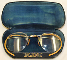 Vtg Antique 12kgf Gold Filled Bausch & Lomb Round Spectacle Eyeglasses ORG CASE