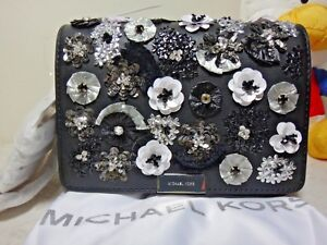 NWT Michael Kors Jade Floral Sequined Leather Clutch, Black