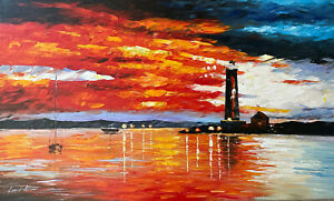 """""""By The Lighthouse"""" Authentic Leonid Afremov Oil Painting"""