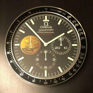 "OMEGA SPEEDMASTER MOONWATCH WALL CLOCK ""APOLLO XI 40TH ANNIVERSARY MOON LANDING"""